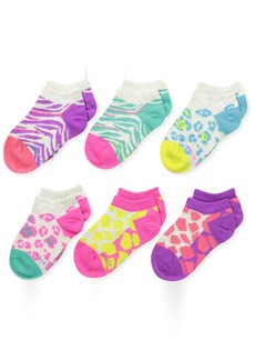 Stride Rite Little Girls' 6 Pack Animal Print Seamless No Shows Assorted BrightSock( 5/6.5)/Shoe(3 to 7)