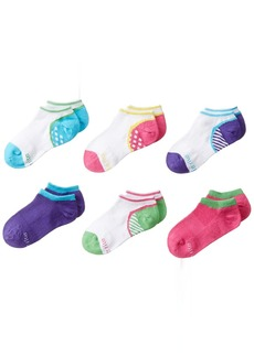 Stride Rite Little Girls' 6 Pack Athletic Seamless No Shows BlueSock(8/9.5)/Shoe(13 to 4)