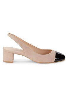 Stuart Weitzman Addy Suede & Patent Leather Slingback Pumps