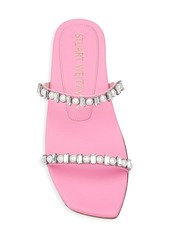 Stuart Weitzman Aleena Embellished Leather Slides