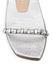 Stuart Weitzman Aleena Embellished Metallic Leather Slides