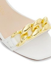 Stuart Weitzman Amelina Chain Block-Heel Leather Sandals