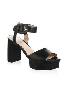 Stuart Weitzman Ankle Strap Leather Platform Sandals
