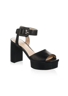 Stuart Weitzman Ankle Strap Leather Platform Sandals