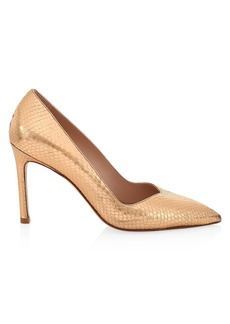 Stuart Weitzman Anny Metallic Snakeskin-Embossed Leather Pumps