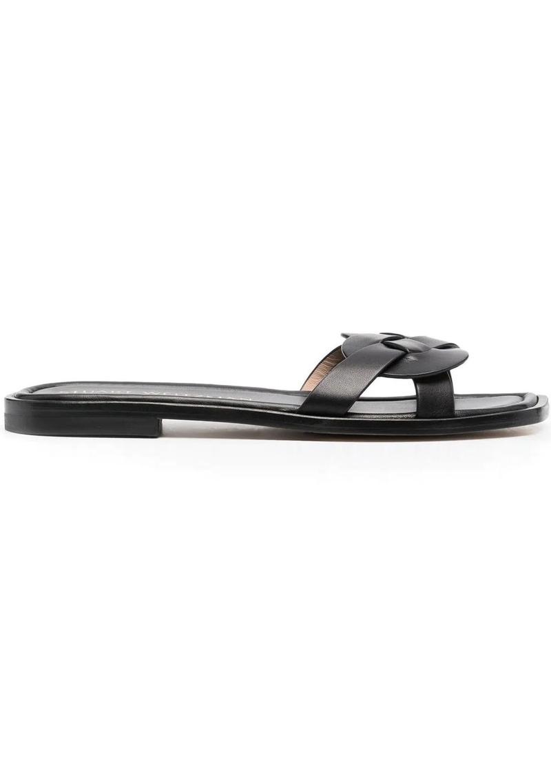 Stuart Weitzman braided-strap leather slides