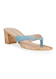 Stuart Weitzman Brigida Suede Cork Thong Sandals