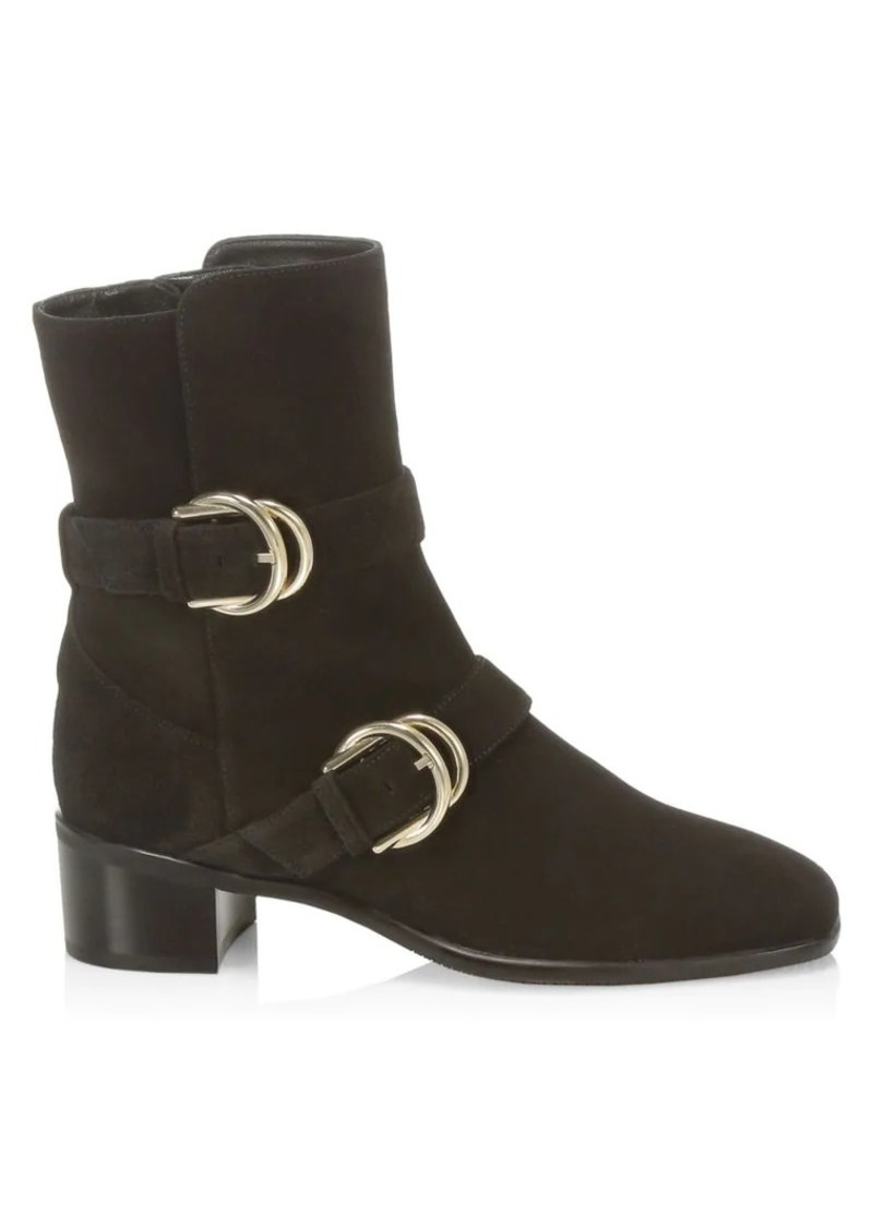 Stuart Weitzman Britain Buckle Suede Ankle Boots