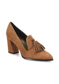 Stuart Weitzman Broom Tassel Suede Block Heel Pumps