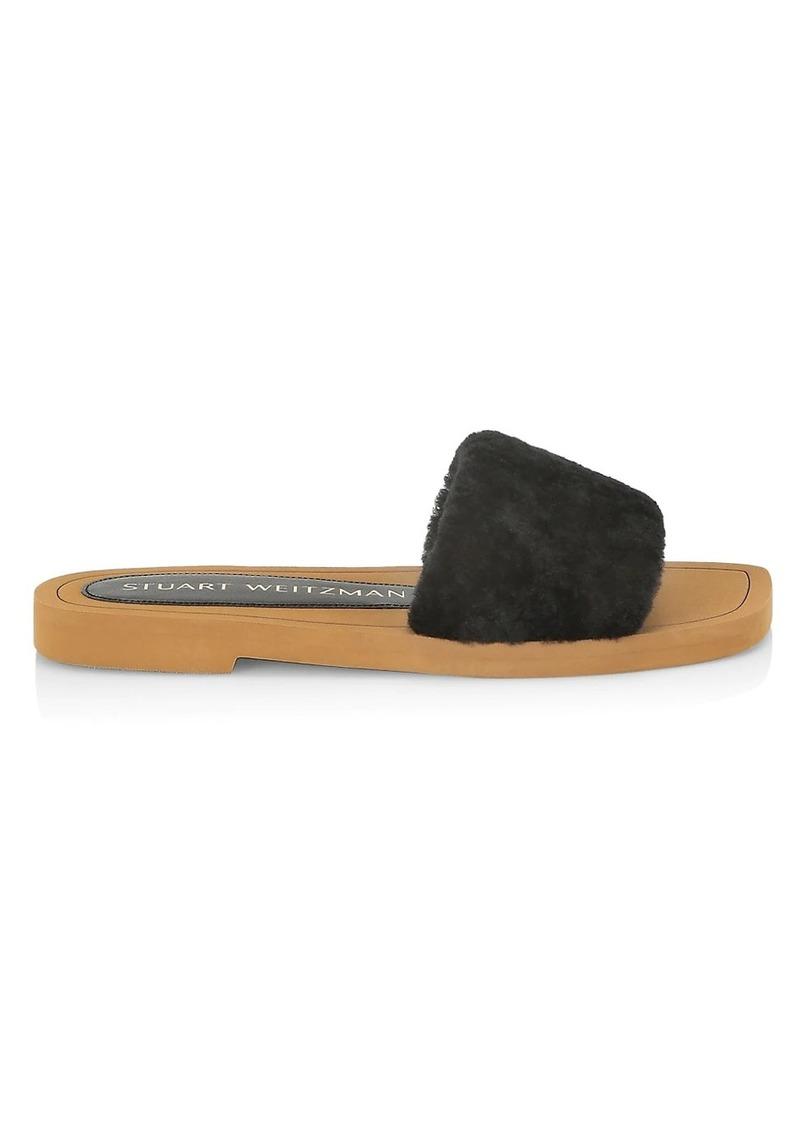 Stuart Weitzman Cammy Shearling-Strap Slide Sandals
