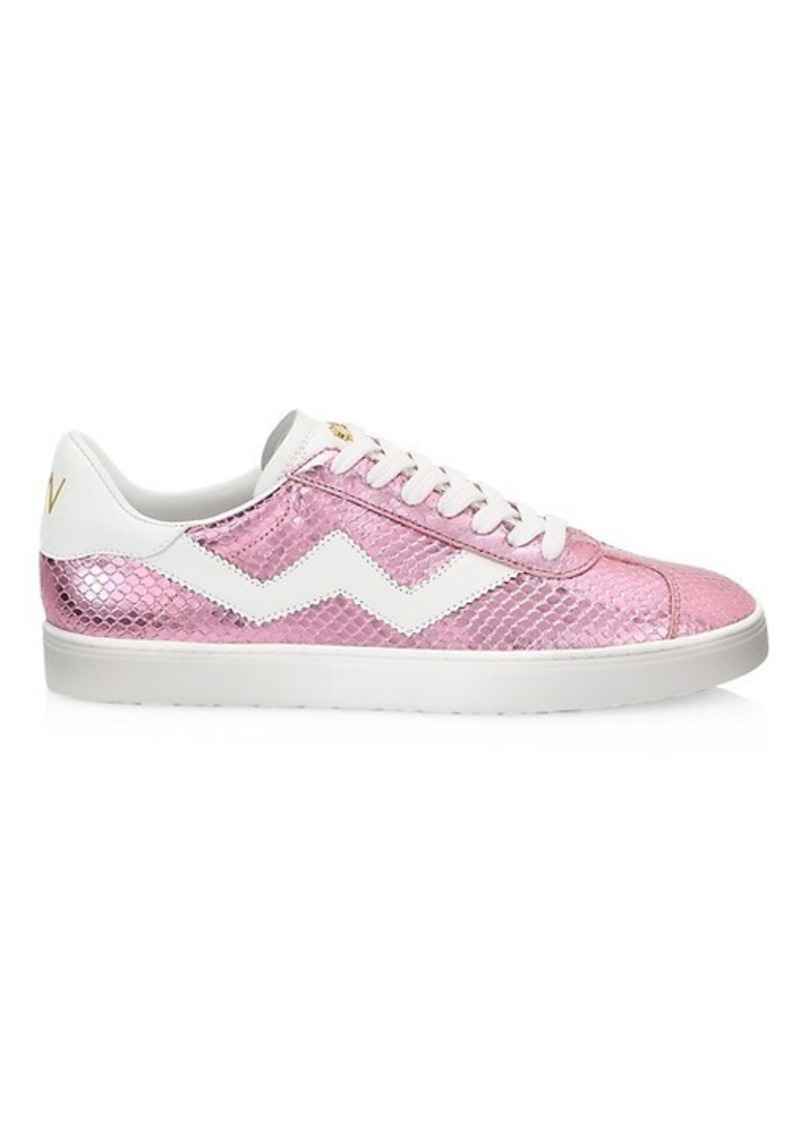 Stuart Weitzman Daryl Metallic Snakeskin-Embossed Leather Sneakers