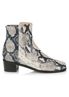 Stuart Weitzman Easyon Reserve Snakeskin-Print Leather Booties