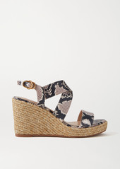 Stuart Weitzman Ellette Snake-effect Leather Espadrille Wedge Sandals