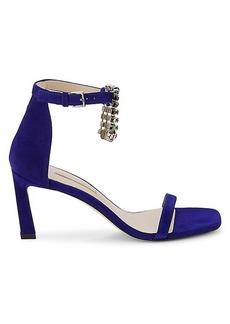 Stuart Weitzman Embellished Fringe Suede Ankle-Strap Sandals