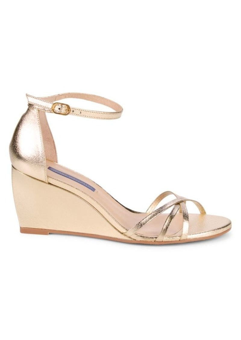Stuart Weitzman Estarla Metallic Leather Wedge Sandals