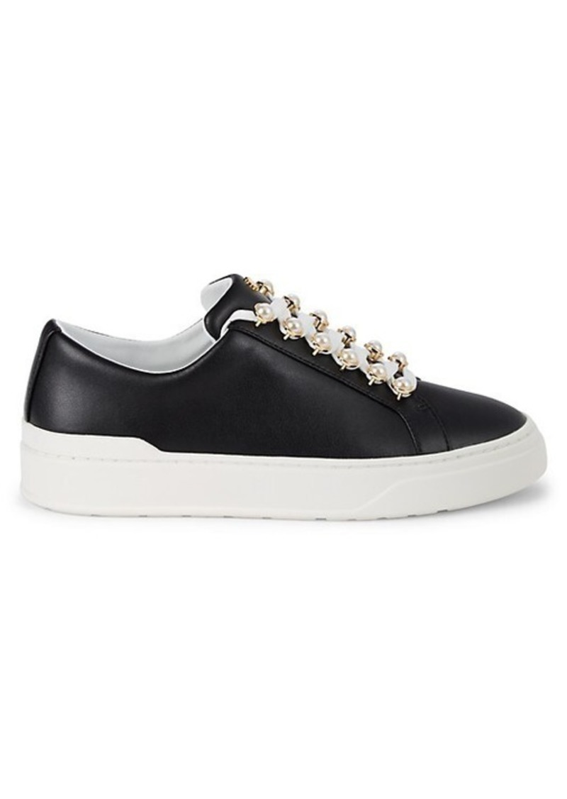 Stuart Weitzman Excelsa Faux Pearl-Embellished Leather Sneakers