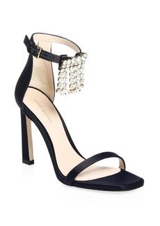 Stuart Weitzman Fringe Square Embellished Satin Sandals
