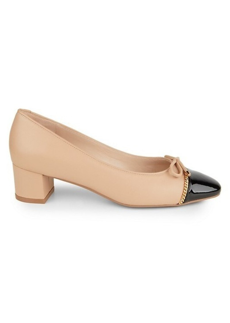 Stuart Weitzman Gabby Chain-Trimmed Leather Pumps