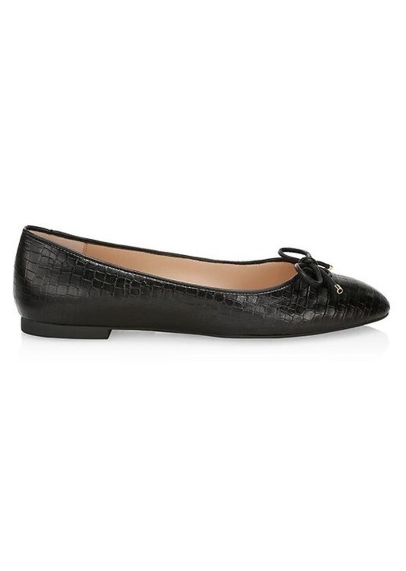 Stuart Weitzman Gabby Croc-Embossed Leather Ballet Flats