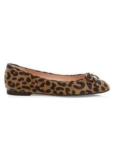 Stuart Weitzman Gabby Cheetah-Print Leather Ballet Flats