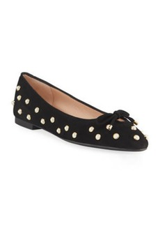 Stuart Weitzman Gabby Pearly Suede Bow Flats