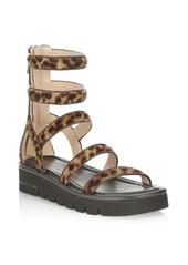 Stuart Weitzman Gala Lift Leopard-Print Calf Hair Gladiator Sandals