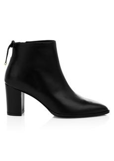 Stuart Weitzman Gardiner Point-Toe Leather Ankle Boots