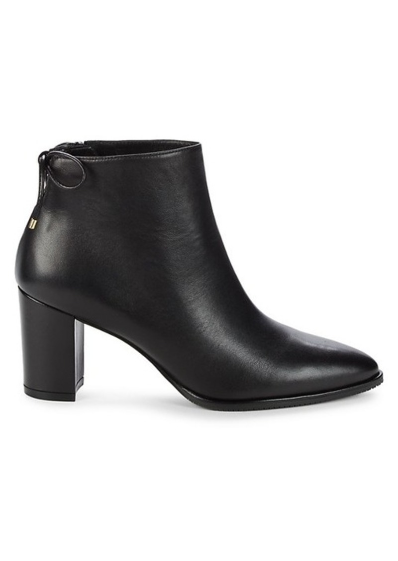 Stuart Weitzman Gardiner Leather Stack Heel Booties