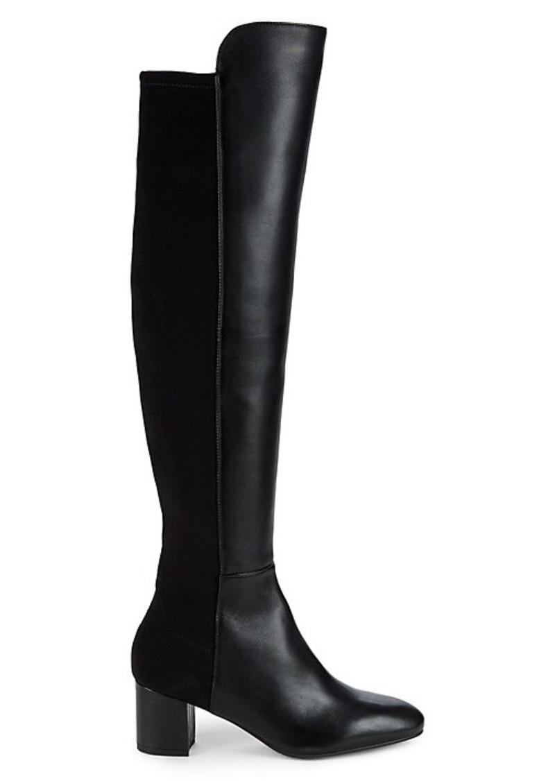 Stuart Weitzman Gillian Leather Block Heel Knee-High Boots