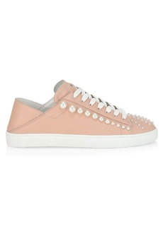 Stuart Weitzman Goldie Embellished Leather Sneakers
