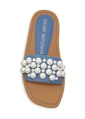 Stuart Weitzman Goldie Embellished Denim Slide Sandals