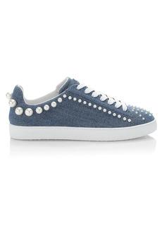 Stuart Weitzman Goldie Embellished Denim Sneakers