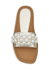 Stuart Weitzman Goldie Embellished Metallic Slide Sandals