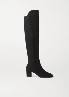 Stuart Weitzman Harper Suede And Neoprene Knee Boots
