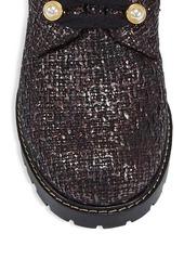 Stuart Weitzman Ivey Metallic Tweed Combat Boots