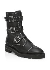 Stuart Weitzman Jesse Lift Studded Leather Combat Boots