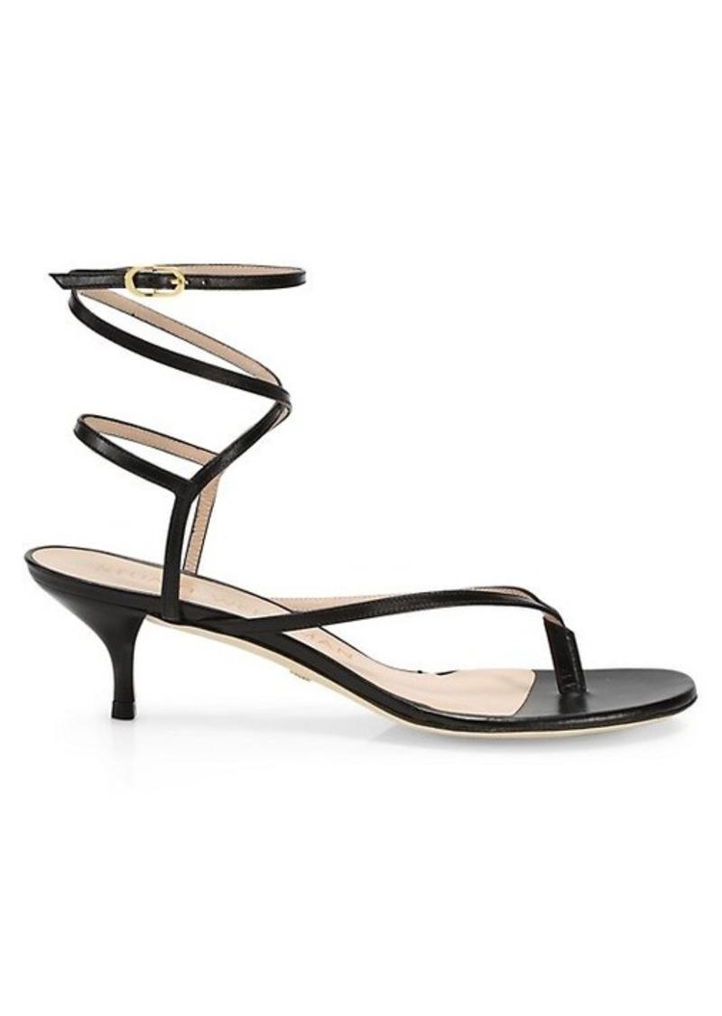 Stuart Weitzman Jimena Lace-Up Leather Ankle-Strap Sandals