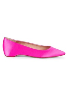 Stuart Weitzman Julie Satin Point Toe Flats
