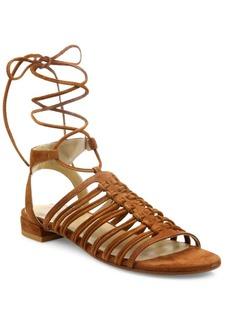 Stuart Weitzman Knotagain Suede Lace-Up Sandals