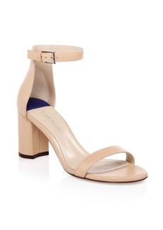 Stuart Weitzman 75LessNudist Leather Ankle-Strap Sandals