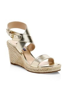 Stuart Weitzman Lexia Metallic Leather Slingback Platform Wedge Sandals