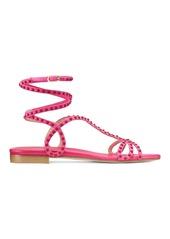 Stuart Weitzman Leya Bead Flat Sandals Suede With Beads