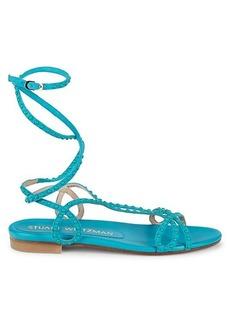 Stuart Weitzman Leya Embellished Suede Gladiator Sandals