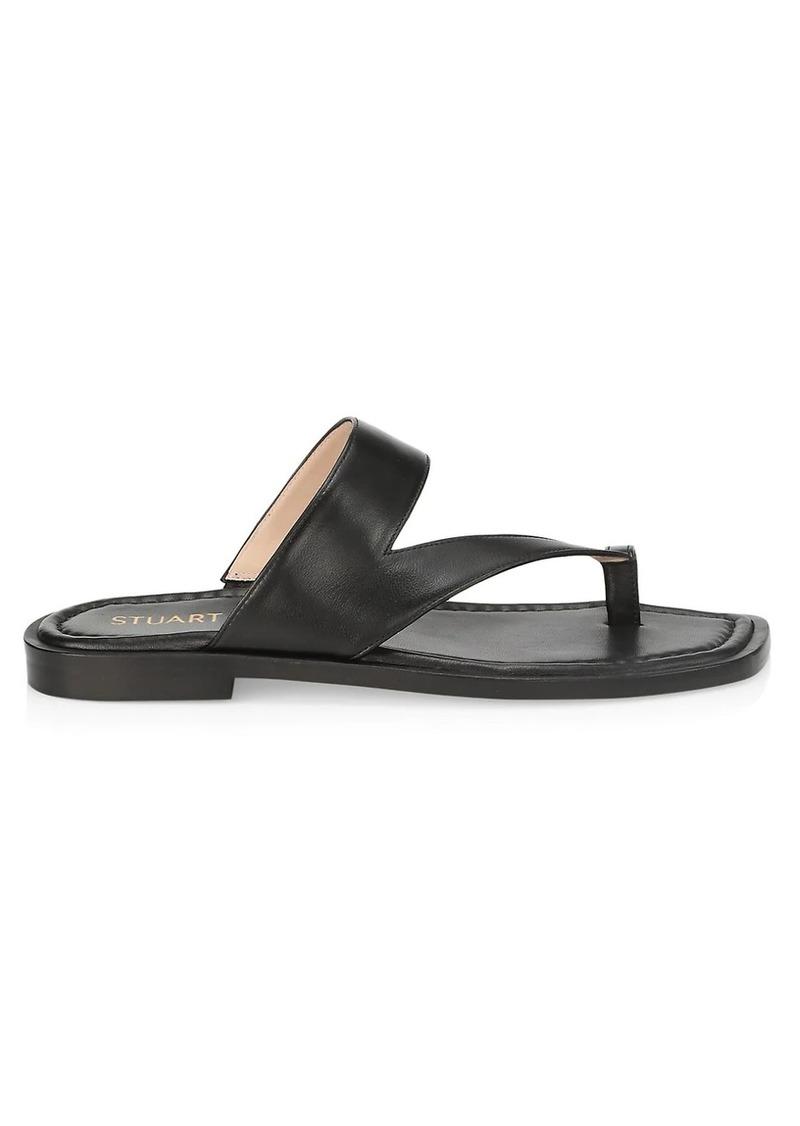 Stuart Weitzman Lyla Leather Flat Sandals