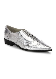 Stuart Weitzman Maneuver Patent Leather Wingtip Oxfords