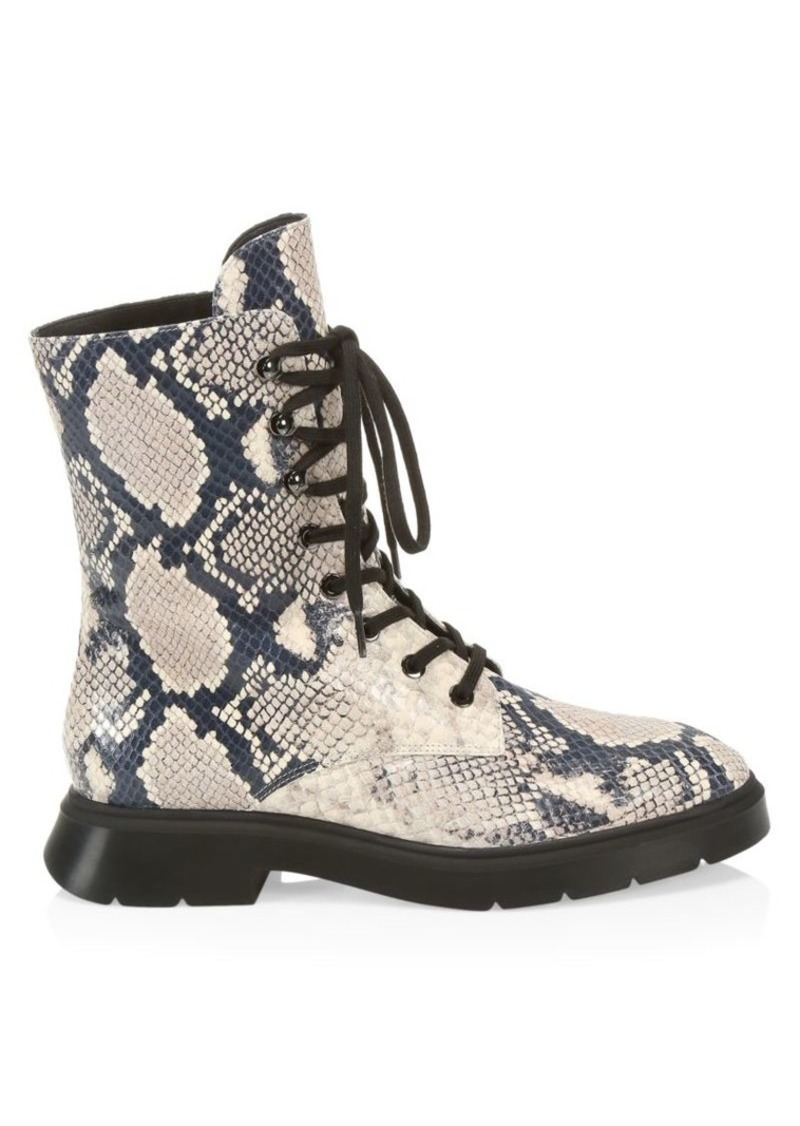 Stuart Weitzman McKenzee Python-Embossed Leather Combat Boots