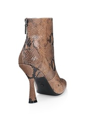 Stuart Weitzman Melena Snakeskin-Embossed Leather Ankle Boots