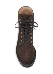Stuart Weitzman Mila Lift Leopard-Print Suede Combat Boots