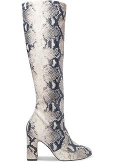 Stuart Weitzman Milla Snake-effect Leather Knee Boots