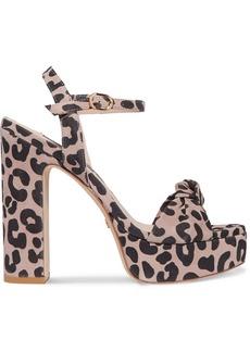 Stuart Weitzman Mirri Knotted Leopard-print Suede Platform Sandals